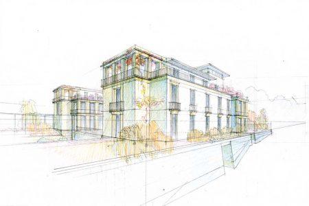 Villa a Comiso – disegno con V. Cazzaniga
