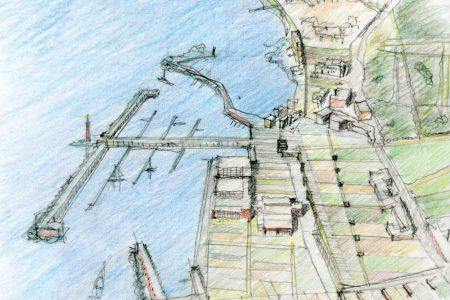 Porto turistico a Granatello - disegno di R. Capozzi